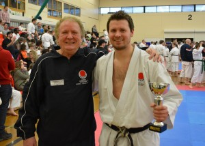 Adam with Malcolm Sensei after winning the Kata title