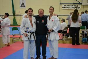 Malcolm Sensei with SSKI's winning Kumite pair