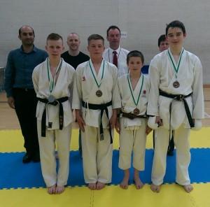 Dylan Freeman winning bronze in Kumite