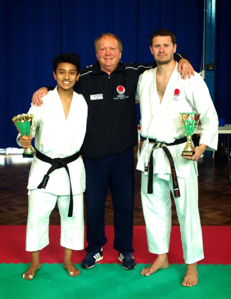 Adam Sensei and Joydeep with Malcolm Phipps Sensei (8th Dan) following their Competitor of the Day wins!
